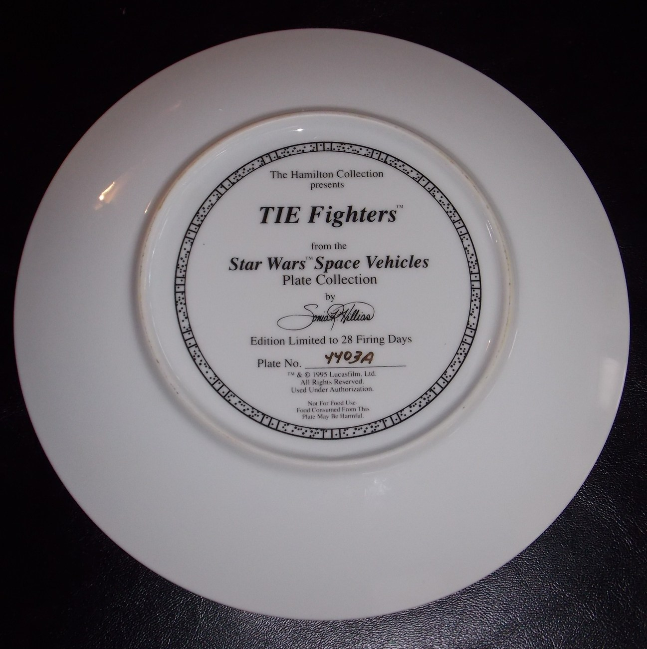 1995 Star Wars Hamilton Collection Tie Fighters Collector Plate