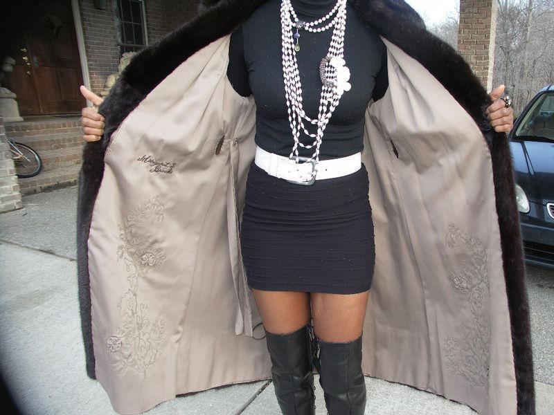 Full length David Rubin black mink fur coat jacket S-M