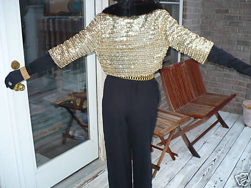Gold sequined l J Fox brown Mink Fur coat bolero