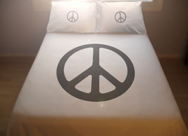 Peace Sign Hippie Duvet Cover Set Bedding Twin Queen King Size unique cu... - $140.00