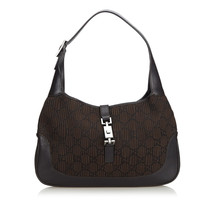 Pre-Loved Gucci Brown Dark Others Fabric Jackie Shoulder Bag Italy - $302.94