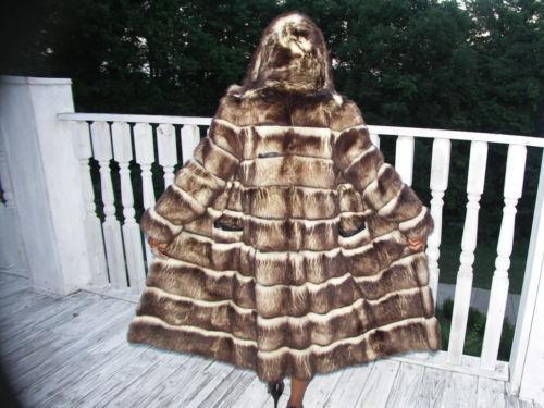 Hooded Russian Full length Fur Coat Jacket S-M