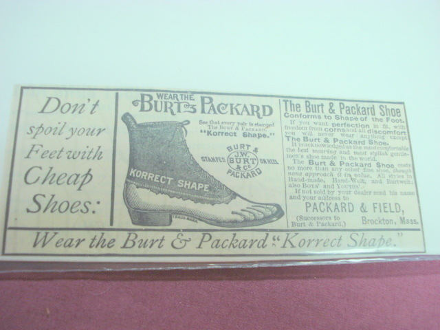 1889 Ad Burt & Packard Shoes, Packard & Field, Brock - $7.99