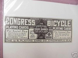 1914 Ad Congress & Bicycle Playing Cards - $7.99