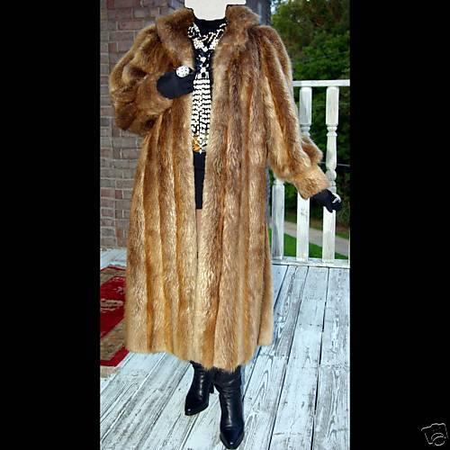 Mint Full length Natural Blond Beaver Fur Coat jacket M
