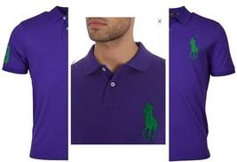Polo Ralph Lauren Mens Custom Fit Big Pony Logo Polo Shirt Purple Green, small - $49.49