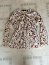 Eddie Bauer Sz Large Burgundy Gold Cream Leaf Print Peasant Blouse Long Sleeve - $18.52