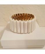 White Plastic Beaded Gold Tone Vintage Stretch Bracelet - $18.00