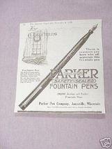 1919 Ad Parker Fountain Pens Parker Pen Co., Janesville - $7.99