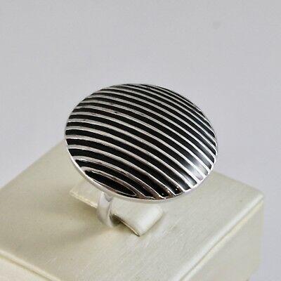 Ring Bandring aus 925 Silber Rhodium mit Politur Schwarz Gestreift