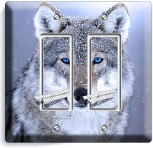 WILD GRAY BLUE EYE WOLF SNOW DOUBLE GFI LIGHT SWITCH WALL PLATE COVER HO... - $14.99