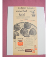 1940's/50's Armour Corned Beef Hash Ad With Recipe - $7.99