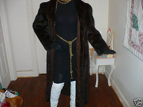 Mint Designer full length Classy Sable black color Mink Fur coat jacket M-L 6-12