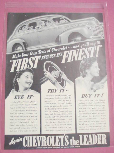 "1941 Full Page Chevy Ad ""Again Chevrolet's The Leader"" - $7.99"