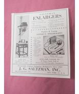 1949 Ad Saltzman Enlargers for Photos, J. G. Saltzman - $7.99
