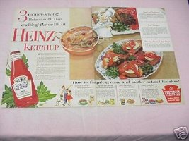 1954 Heinz Tomato Ketchup Color Ad With 3 Recipes! - $7.99
