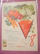 1955 Campbell's V-8 Vegetable Juice One Page Color Ad - $7.99