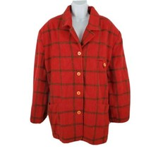 The Limited Wool Mohair Red Plaid Pea Coat Field Jacket Womens Size L - $34.64
