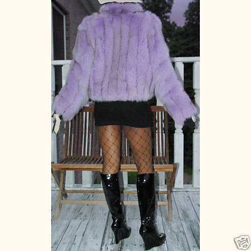 NWT New Elegant Bloomingdale's lavender fox Fur Coat Bolero jacket Stroller S-8