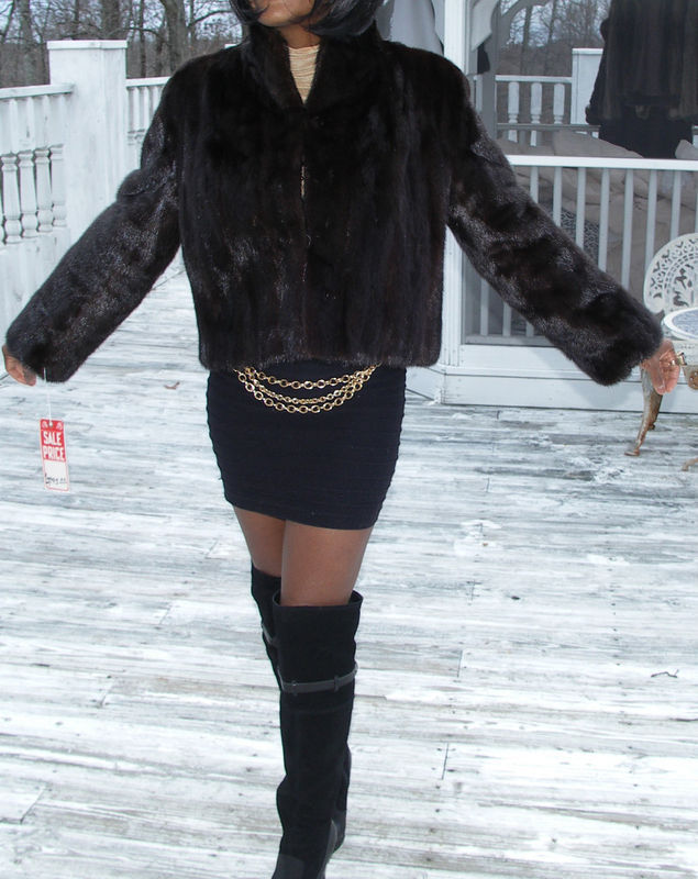 NWT New brown Black Mink Fur Coat Bolero jacket S-M