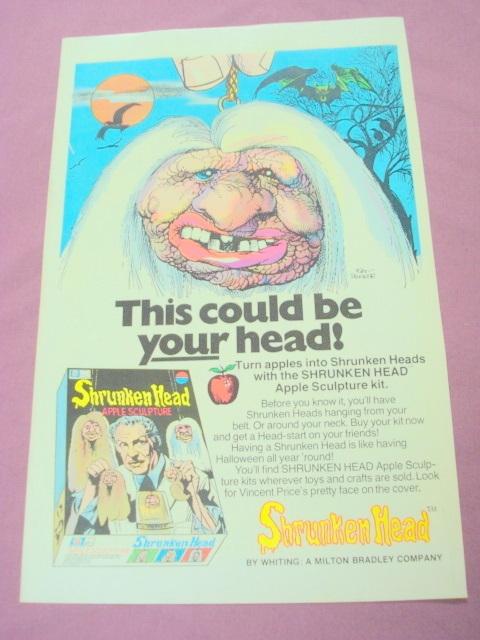 1975 Ad Whiting Shrunken Head Apple Sculpture Kit - $7.99