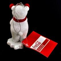 "Kurt S. Adler Coca-Cola Glitter Polar Bear Cub 3.5"" Christmas Ornament image 2"