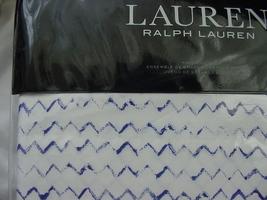 Ralph Lauren Nora Zig Zag Blue on White Sheet Set King - $179.00