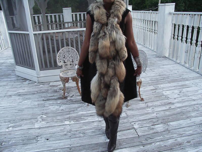 New Black Swakara & Coyote tails Fur Vest Coat M