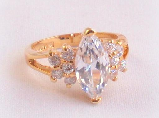 Top Lind CZ Solitaire Ring 14K HGE NWOT Marquise and 50 similar items FG36