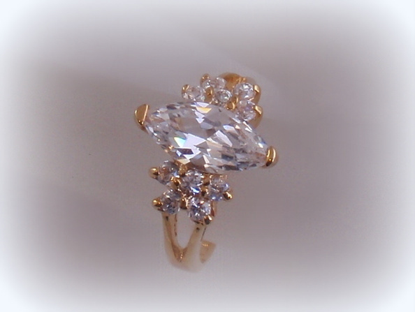 Perfect Lind CZ Solitaire Ring 14K HGE NWOT Marquise and 50 similar items BD26