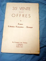 1956 French Stamp Auction Catalog in French - $19.99