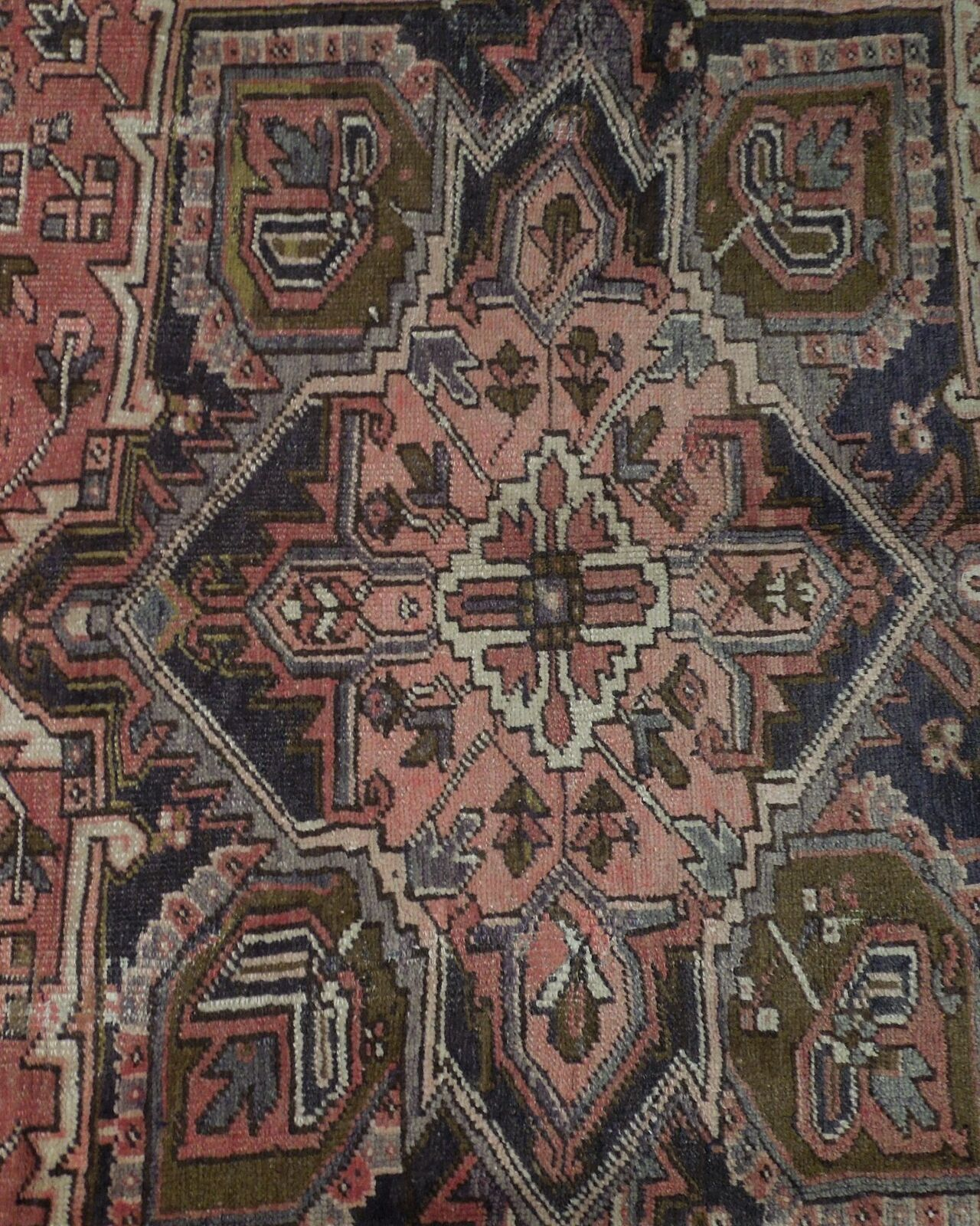8x11 Red Heriz Wool Handmade Rust Worn-out Antique over 100 y o Persian Rug image 11