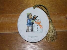 Estate Goebel Berta Hummel 2002 Oval Porcelain Double-sided Boy & Snowma... - $7.69