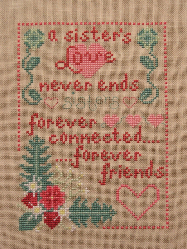 A Sister's Love cross stitch chart Misty Hill Studio