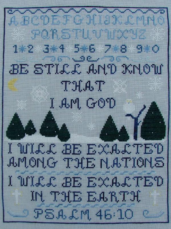 Psalm 46:10 religious cross stitch chart Misty Hill Studio