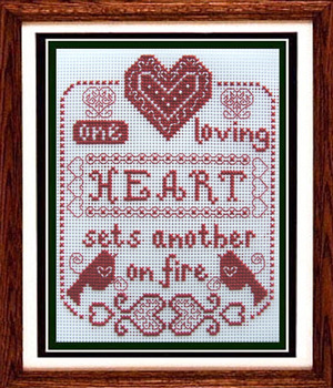 One Loving Heart cross stitch chart Misty Hill Studio