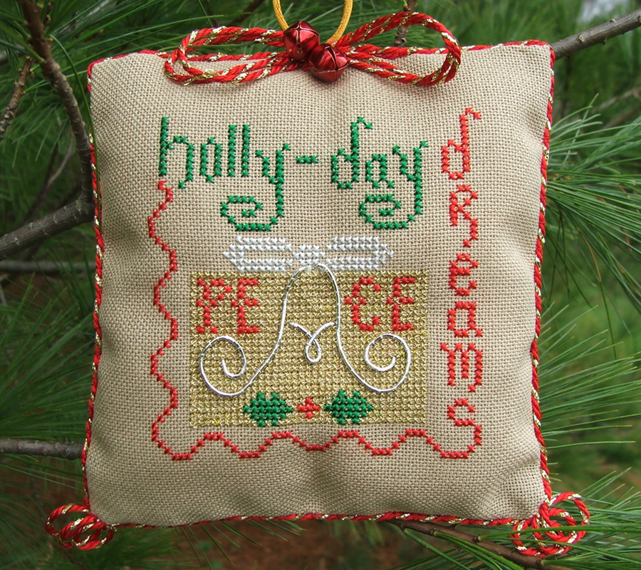 Holly-Day Dreams christmas holiday cross stitch chart Misty Hill Studio