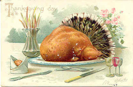 Thanksgiving Day Artist R Wealthy Vintage Post Card - $6.00