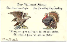The Eagle and Turkey 1906 Vintage Post Card   - $7.00