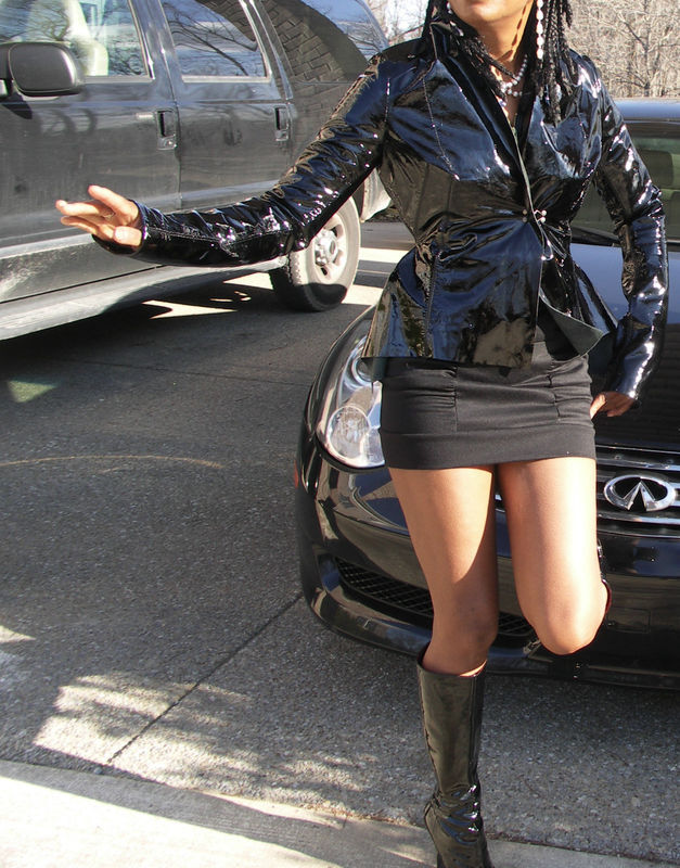 New NWoT Signature Genuine designer Grai Black Patent leather Coat jacket XXS-S
