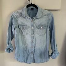 Girl's Gap Kids Long Sleeve Denim Top, size XL Cotton / Linen Blend - $14.99