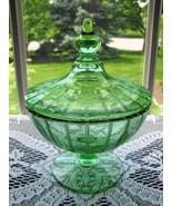 FOSTORIA Elegant Green Ftd. Cut/Engraved Cov. Candy Box - $45.00