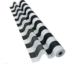 Fun Express Black and White Striped Gossamer Roll (3 ft x 100 ft) Weddin... - $34.79