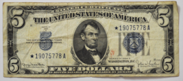 1934 D $5 Silver Certificate Note *19075778A Wide I STAR FP 2048 BP 1769 - $49.49