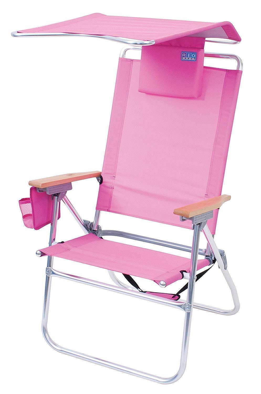 RIO Gear Rio Brands Hi-Boy Beach Chair with Canopy Pillow Pink