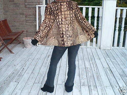 Rare Elegant Unique Crocodile embossed Pony Fur jacket bolero Stroller S 0-4
