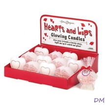 Lot of 12 Romantic Hearts and Kiss Shaped Glowing Candles in Display Box - $21.29