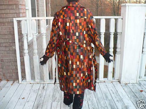 Rare FL Multi checkerboard leather dress Trench coat L