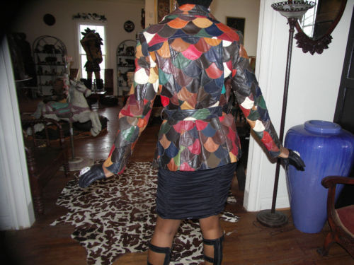Rare Fitted multi checkerboard leather Coat Jacket S-M