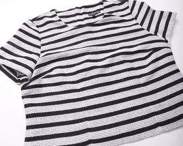 NEW EXPRESS Womens SHIRT TOP Size Medium Black White Zipped Back image 3